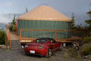 Roadster at our yurt